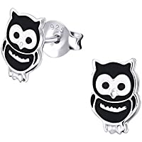 Hypoallergenic Owl Chick Black Sterling Silver Stud Earrings for Girls Children by Kate Benson