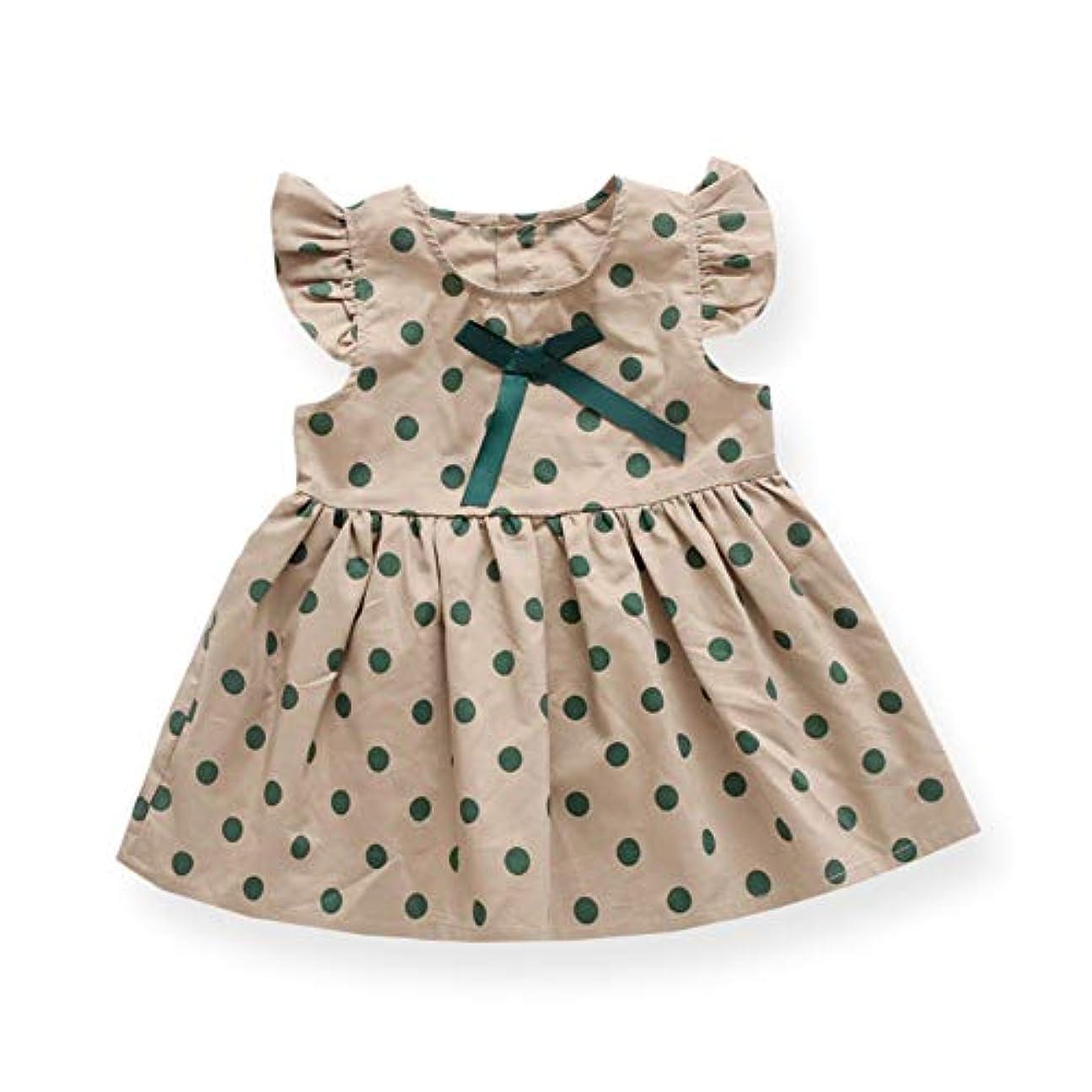 福祉記者バレルUrmagic子供ドレス ベビー服 夏 綿 女の子 フライングスリーブ 水玉柄 スカート ワンピース 赤ちゃん服 おしゃれ 出産祝い 誕生日
