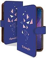 Disney Mobile on DM-01J ケース 手帳型 トライアングル 青 ロゴ シンプル ワンポイント スマホケース ディズニーモバイル 手帳 カバー DisneyMobile dm01j dm01jケース dm01jカバー 三角 三角形 [トライアングル 青/t0590]