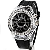 「7色にフラッシュ発光」レインボーLED腕時計 光る腕時計 (ブラック)