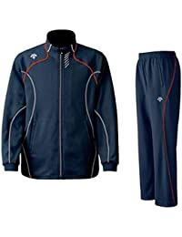 DESCENTE(デサント) メンズ トレーニング ジャケット?パンツ上下セット インクグレー×レッド DTM1910B-DTM1910PB-INR (O)