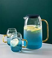 Nord Glass水差し、蓋、グラジエントブルーウォーターピッチャー(1.4L)、2個のタンブラーグラスセット、ホットまたはコールドビバレッジピッチャー、グラスデカンタ