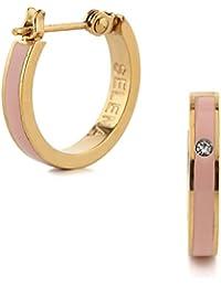 (Selena Jewelry) CZ ダイヤモンド フープピアス イエローゴールド コーティング Pink Quartz ピンククオーツ ((A.)スタンダードパッケージ)