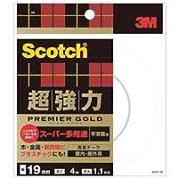 (まとめ) 3M スコッチ 超強力両面テープ プレミアゴールド (スーパー多用途) 19mm×4m SPS-19 1巻 【×4セット】