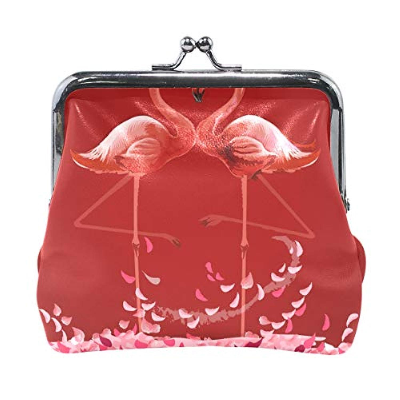 AOMOKI 財布 小銭入れ ガマ口 コインケース レディース メンズ レザー 丸形 おしゃれ プレゼント ギフト デザイン オリジナル 小物ケース フラミンゴ 花柄 鳥柄