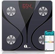 1byone 体重計 体組成計 Bluetooth対応 スマホ連動 体脂肪計 smart scale 体重/体脂肪率/体水分率/推定骨量/基礎代謝量/BMIなど測定 iOS/Androidアプリで健康管理 日本語説明書付