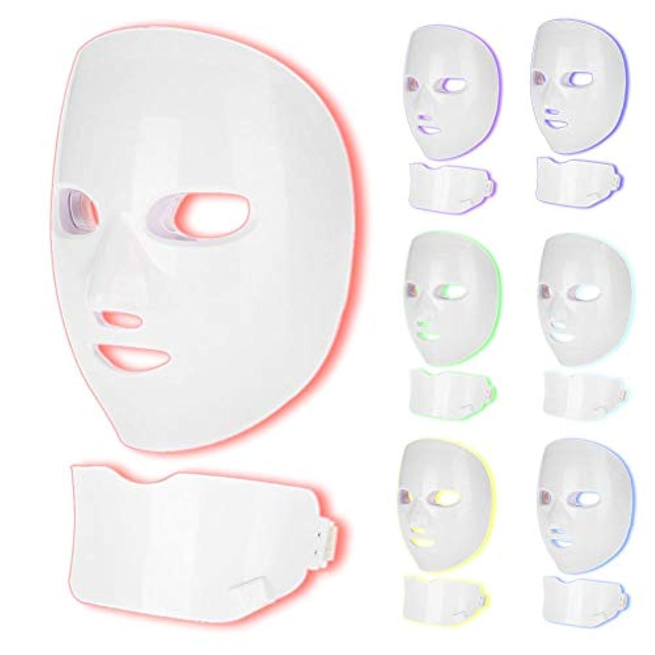 発揮する自我不定7色の肌の若返りマスク、LEDフェイシャルマスクフェイスネック肌引き締め美容機(01#)