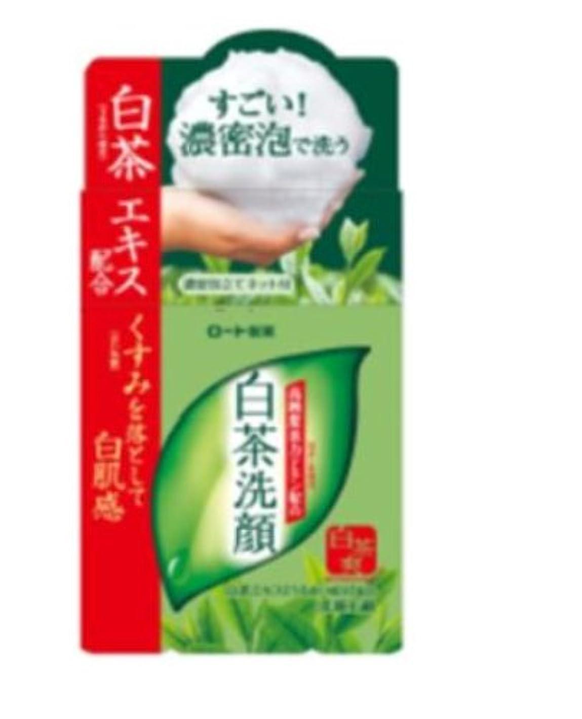 離れた集める前者ロート製薬 白茶爽 白茶洗顔石鹸 高純度茶カテキン配合 濃密泡立てネット付 85g