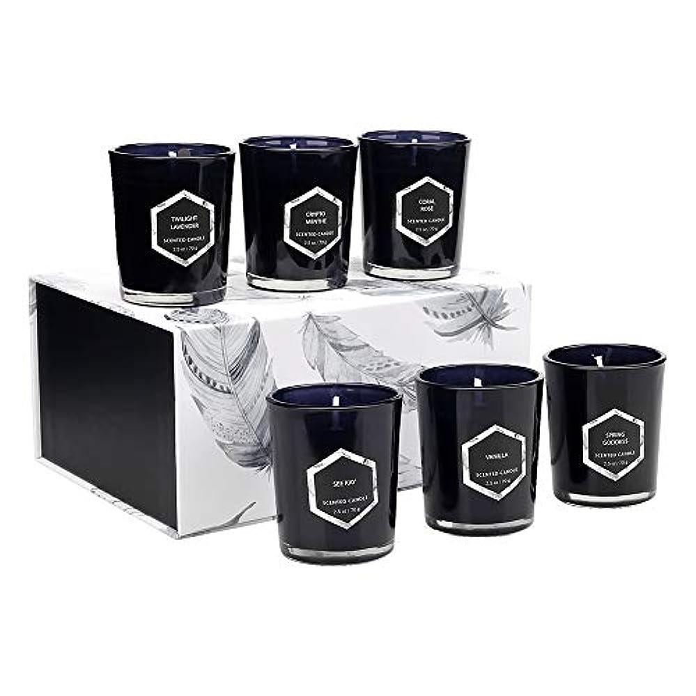 国民投票仮定する手荷物6つの環境に優しい植物エッセンシャルオイル大豆ワックス無煙キャンドルライトの赤い炎アロマセラピーキャンドルガラスセット(5ボックス)