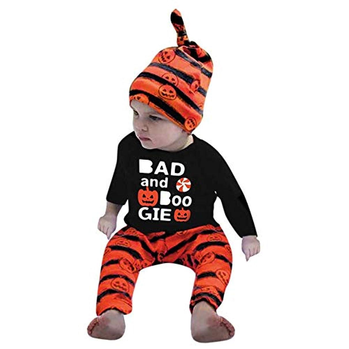 こどもセンターに賛成七面鳥BHKK 幼児少年少女ロングスリーブプリントハロウィーンパンプキントップ+ストリップパンツ 3ヶ月 - 24ヶ月