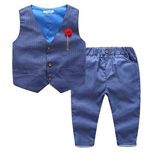Kimocat Kids 3pcs Formal Clothing Set, Vest, Shirt, Pants, Brooch for 3-7 Years - Blue - 7 Years(Tag Size 140)