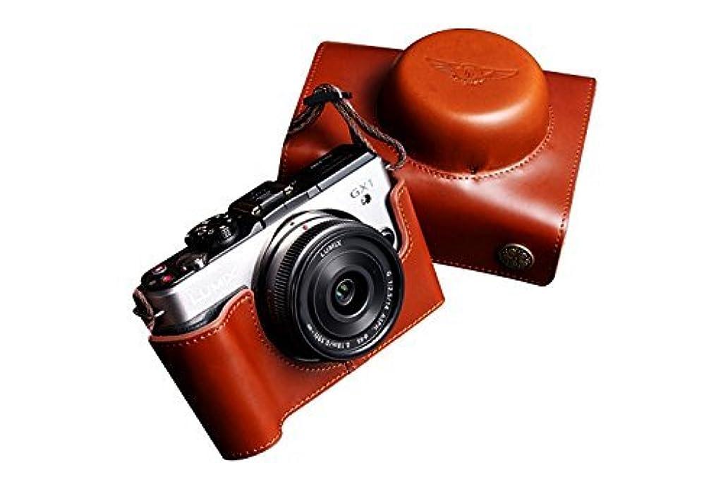 関係する医療過誤電子用本革レンズカバー付カメラケース(14-42mm 20mm用) ブラウン