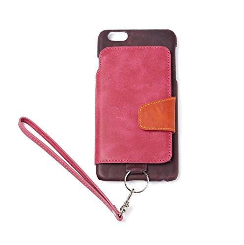 RAKUNI (ラクニ) iPhone 6/6s Plus用 本革 背面ポケット 財布型 ストラップ付き レザーケース(スタンド機能)(iPhone 6/6s Plus用) (ラズベリー)
