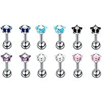 Baoblaze 12 Pieces 16g Zircon Tragus Studs Earrings with Screw On Backs Stainless Steel Ear Helix Piercing Jewelry Set
