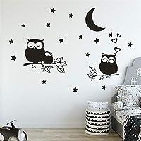 Juexianggou 子供部屋、黒い星のムーンフクロウの自己接着壁のステッカーのための取り外し可能なステッカー (Color : O)