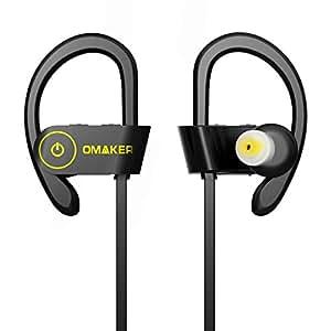【技適認証済】Omaker Bluetooth スポーツイヤホン フィット感抜群なワイヤレスイヤホン【IPX6防水/柔軟な耳かけフック/マイク付き/ノイズキャンセリング】(ブッラク+イエロ)