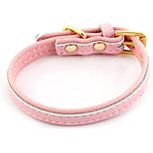 uxcell Faux Leather Adjustable Belt Metal Single Pin Buckle Pet Puppy Cat Dog Collar Size XS Pink