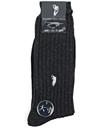 (スーツデポ) SUIT-DEPOT ビジネス ビッグサイズ  リブ ソックス ワンポイント刺繍入り 杢グレー(グレー) 6足セット 31301-23x6