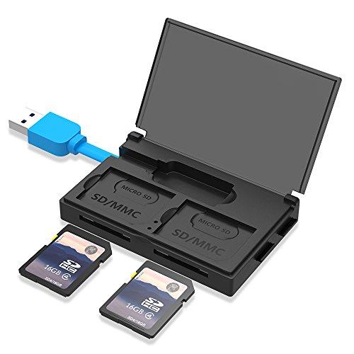 llanoカードリーダー USB3.0 二つカード同時読み取り可能 ケーブル収納と保護蓋付き SD/SDHC/SDXC対応 黒