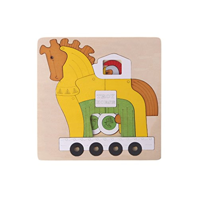 Doober木製漫画マルチレイヤジグソーパズルキッズ子供教育玩具ギフト