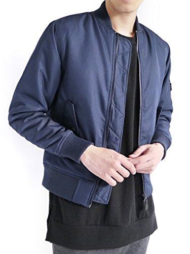 (モノマート) MONO-MART MA-1 ジャケット エムエーワン 中綿 暖かい フルジップ ノーカラー ミリタリー 長袖 MODE メンズ ネイビー Lサイズ