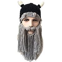 RライブメンズビーニーBeard Hats Viking Horns防風暖かいニット帽子キャップ