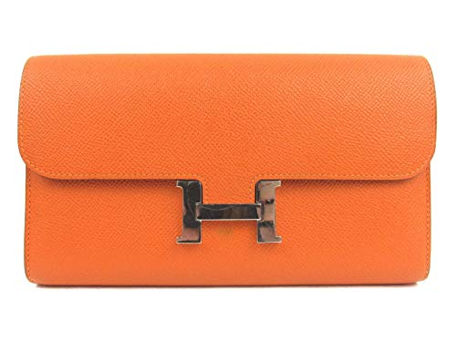 [エルメス] HERMES コンスタンスロング 二つ折り長財布 長財布 オレンジ (金具:シルバー) ヴォーエプソン [中古]