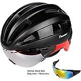 サイクリング自転車用ヘルメット ゴーグル付きPC EPS自転車ヘルメット、通気性の快適さと防虫ネットを備えたワンピースヘルメット、調整可能な頭囲、レンズ交換可能なマウンテンロードバイク用機器 スポーツ用保護ヘルメット (色 : B)