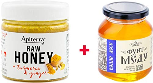 【Amazon.co.jp限定】 はちみつ 蜂蜜 ハチミツ 生 2個組 セット (生はちみつ 200g、フォレストハニー 624g) Raw Honey 200g & Ginger 200g & Forest Raw Honey 624g