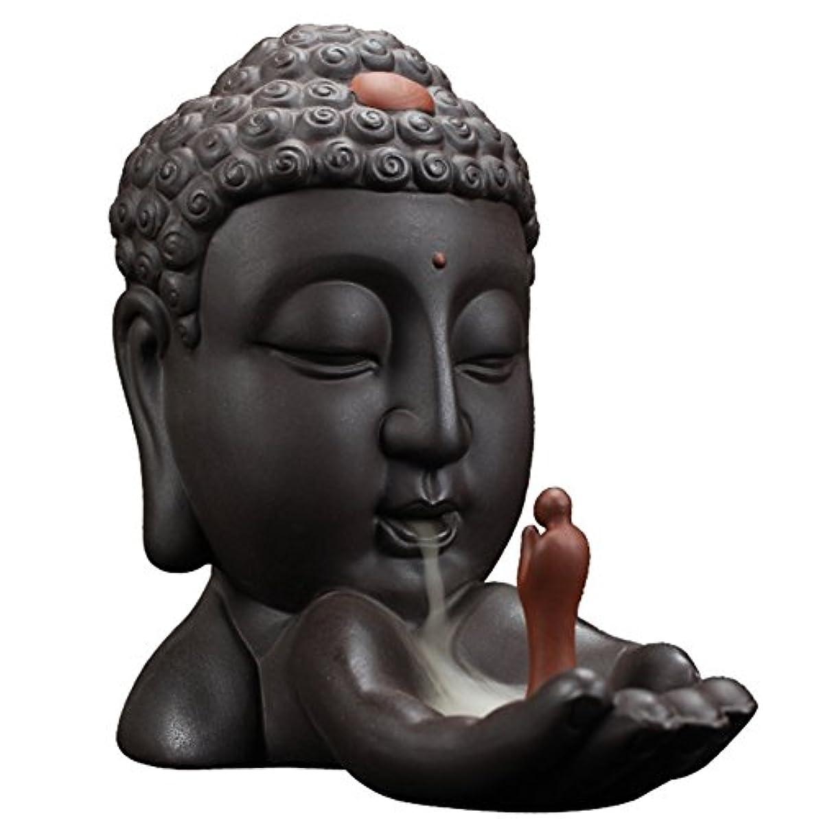 芽自慢壮大なBackflow Incense Burnerクリエイティブホーム装飾セラミックBuddha Incense Holder Buddhist Censerギフト