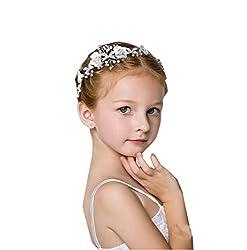 DreamYo子供髪飾 アクセサリー ジュニア フォーマル カチューシャ 子供ヘッドドレス 花びら パール フラワーガール 結婚式 ヘアアクセサリー 発表会 結婚式 入学式 卒業式 卒園式