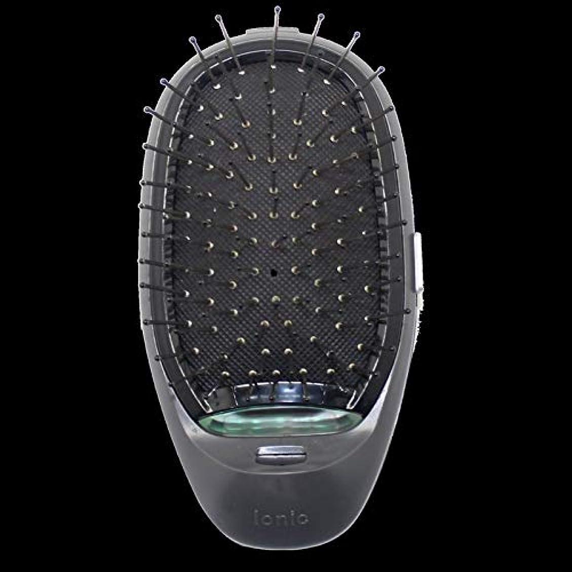 並外れて出血岩電動マッサージヘアブラシミニマイナスイオンヘアコム3Dインフレータブルコーム帯電防止ガールズヘアブラシ電池式 - ブラック