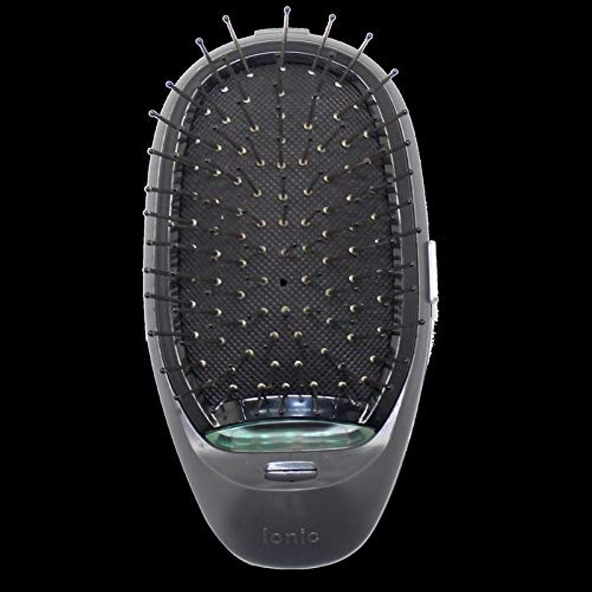 品特別なクレデンシャル電動マッサージヘアブラシミニマイナスイオンヘアコム3Dインフレータブルコーム帯電防止ガールズヘアブラシ電池式 - ブラック