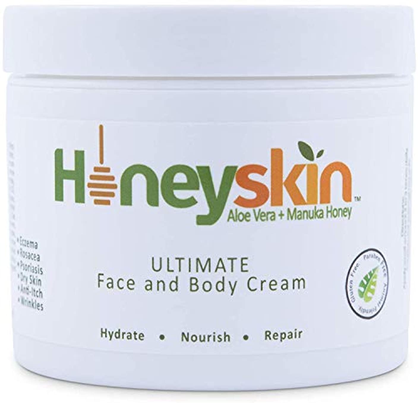 団結する超える原告Face and Body Cream Moisturizer - Nourishing Aloe Vera - Manuka Honey for Rosacea Eczema Psoriasis Rashes Itchiness...