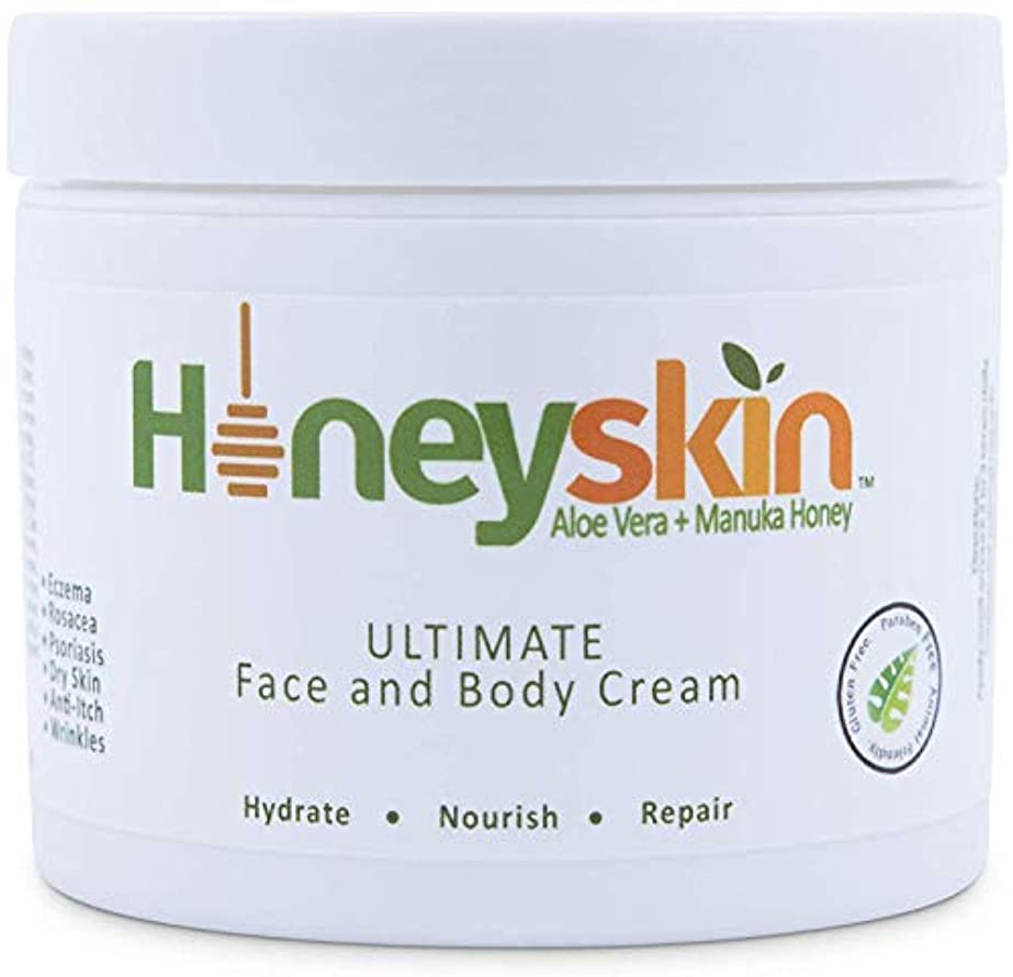 Face and Body Cream Moisturizer - Nourishing Aloe Vera - Manuka Honey for Rosacea Eczema Psoriasis Rashes Itchiness...