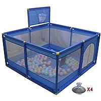 折り畳み式ポータブルベビープレイペンターバスケットボールフープキッズプレーペン8パネルボーイアクティビティセンターホーム屋内屋外 (色 : Blue)