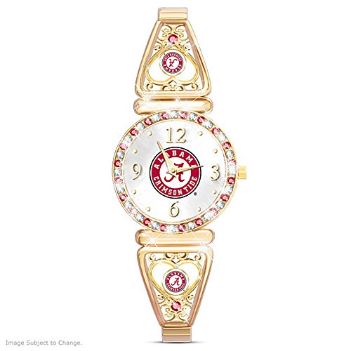 My Crimson Tideアラバマ大学のサッカーファンレディース用腕時計by the Bradford Exchange