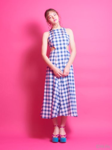 lilLilly (リルリリー)チェックカットアウトドレス BLUE S