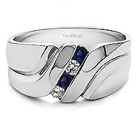スターリングシルバー旋回スタイルクールメンズ指輪ユニーク男性用ウェディングリングwithダイヤモンド( G - H、i2- i3)とサファイア( 0.24CT。TW。)