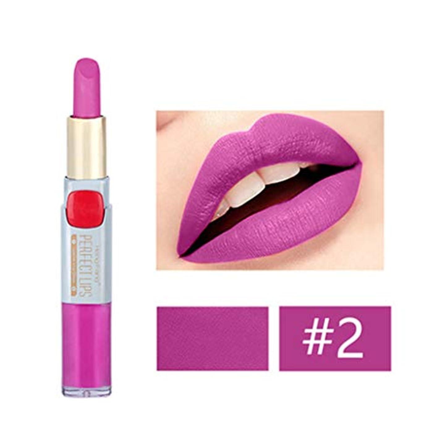 翻訳手首まもなくKimyuo 2つ1つの長続きがする防水二重頭部の唇の液体の鉛筆のマットの口紅の唇の光沢の化粧品