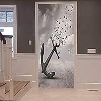 3dインテリアドアステッカー壁画アンカーカラス(77×200センチ)アートデカール防水ビニールdiyの家の装飾壁紙用リビングルーム寝室キッチンバスルームの装飾