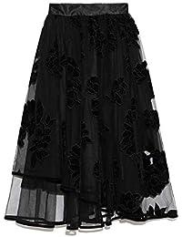 [リリーブラウン] ベロア刺繍ヘムラインスカート LWFS185040 LWFS185040 レディース