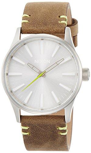 ニクソン 腕時計 メンズ レディース NIXON THE SENTRY 38 LEATHER セントリー38 レザー ブラウン/ライム NA3772290-00