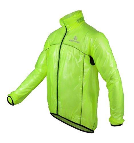 Morethan サイクル レインジャケット 軽量 防風 透湿 防水 バックポケット付き MT-RVP-001 (グリーン, L)