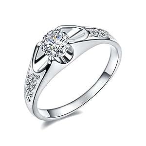 [ベラ バリー] Bella Barry レディース 婚約指輪 4爪 k18 ホワイトゴールド メッキ 0.5ct czダイヤ プロポーズリング 14号
