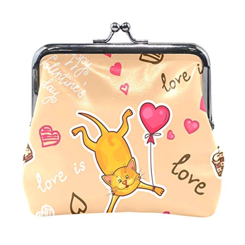 AOMOKI 財布 小銭入れ ガマ口 コインケース レディース メンズ レザー 丸形 おしゃれ プレゼント ギフト オリジナル 小物ケース 猫柄 ハート 可愛いネコ