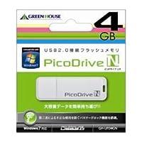(まとめ)GREENHOUSE USBフラッシュメモリ ピコドライブN 4GB GH-UFD4GN【×5セット】