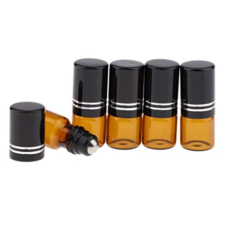 職業正直美徳Perfeclan エッセンシャルオイル ガラス瓶 ローラーボールボトル ロールオンアロマボトル 小分けボトル 詰替え容器 3色 - ブラック
