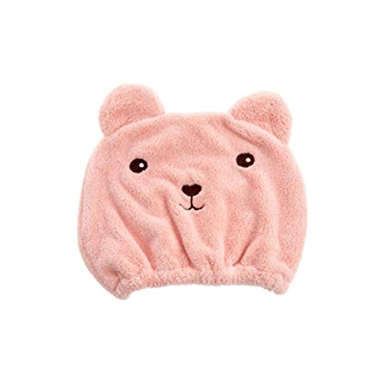 花瓶トラフバースQXFD 橋ホーム動物漫画スーパードライヘアーキャップ速乾性ターバンかわいい髪の太い吸収アダルトシャワーキャップ (Color : Pink)