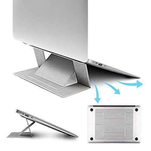 【2019本革】ノートパソコン スタンド 折りたたみ 軽量 pcスタンド 冷却 携帯便利 laptop stand タブレット縦置き パソコン台 角度高さ調整可能 超薄い8kg-10kg荷重 耐久性 15.6インチまで対応 Macbook Air/Mackbook Pro/Macbook/ASUS/Acer/Brother/DELL/東芝(TOSHIBA)/Lenovo/富士通/ソニー/iPad/タブレット スタンド 出張 旅行 オフィスに最適 パソコンホルダー 本革 シルバー